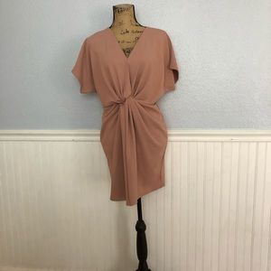 Missguided mauve/nude knot front dress size8